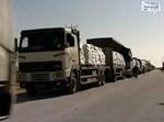 """שיירת משאיות. צילום: דובר צה""""ל"""