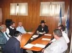 פגישת העבודה לגיבוש נושא השיטור הקהילתי. במרכז: ראש העיר