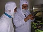 הרב שניאור זלמן רווח (מימין) בבדיקת טפילים בדג מושט בסין