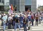 מפגינים מול בניין כיל/ צילום:דובר ההסתדרות