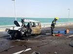 רכב שנפגע בתאונה ועלה באש בכבישי ים המלח