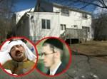 שפיצר ורוטנברג השרוף על רקע הבית בסקווירא. עיבוד: בחדרי חרדים
