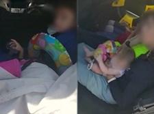 משפחה ברוכת ילדים ברכב קטן