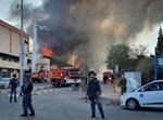 כיבוי שריפה במפעל בשדרות, שנגרם מרקטה