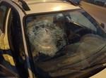 רכב שנפגע מזריקת אבנים