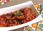 ליבת חציל במרקם עגבניות פיקנטי