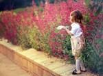 צילום ילד על רקע פרחים