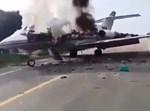 המטוס עולה באש