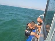 אחד הצעירים מחולץ על ידי השיטור הימי
