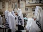 """חסידי קרלין מתפללים ברחבת ביהמ""""ד"""