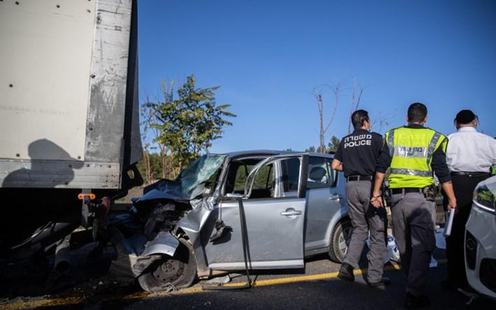 זירת התאונה הקשה בכביש 1