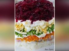 דג הרינג בשכבות של ירקות, ביצים ומיונז