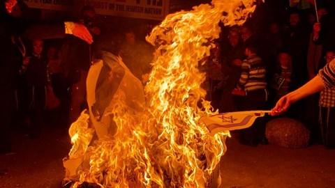 """שריפת דגלי ישראל במא""""ש"""