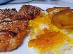 פרגיות בדבש, סויה ורוזמרין לצד אורז פרסי ותפוחי אדמה