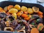 אוסבוקו בתנור עם ירקות שורש