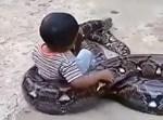 הפעוט משחק עם הנחש