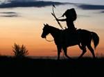 אינדיאנים, סוס, חץ וקשת, שקיעה