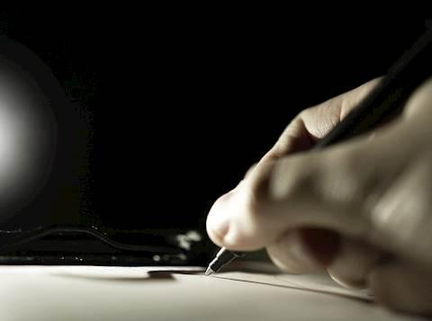 יד, צל, צללית, כתיבה, מכתב